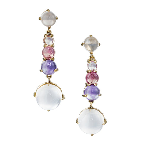 long drop earrings with pink tourmaline, rose quartz and amethyst set in 18k yellow gold