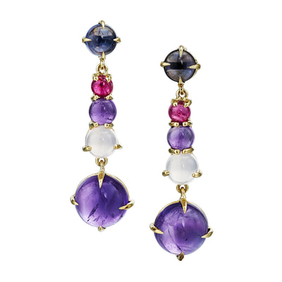 long drop gemstone earrings with chalcedony,  iolite, amethyst and pink tourmaline