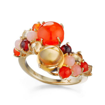 Stacking cluster ring with colorful cabochon gemstones