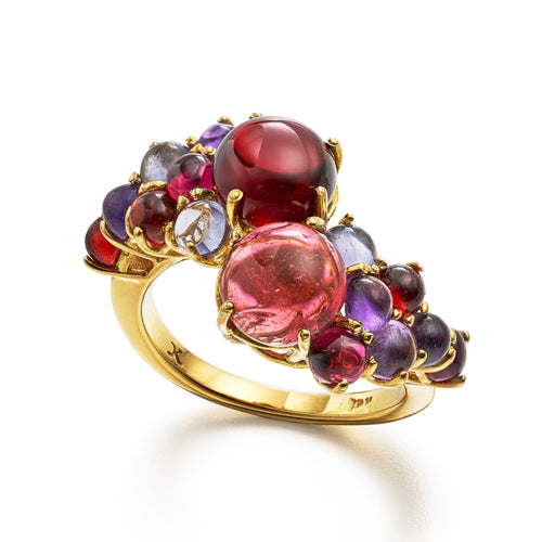 Dagny Stacking ring with pink tourmaline and red garnet in 18k yellow gold