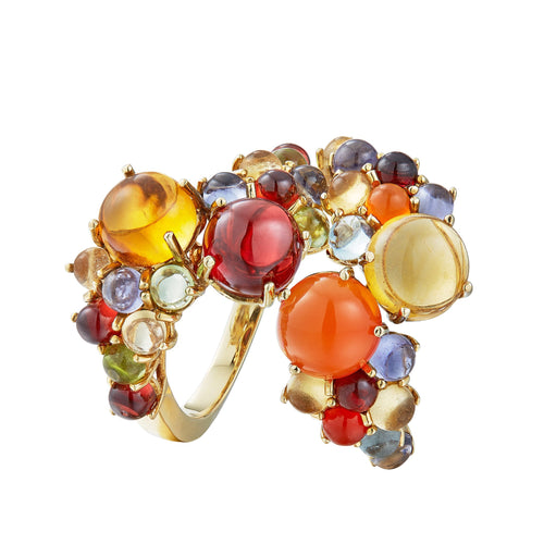 Dagny Stacking rings with citrine, red garnet, carnelian