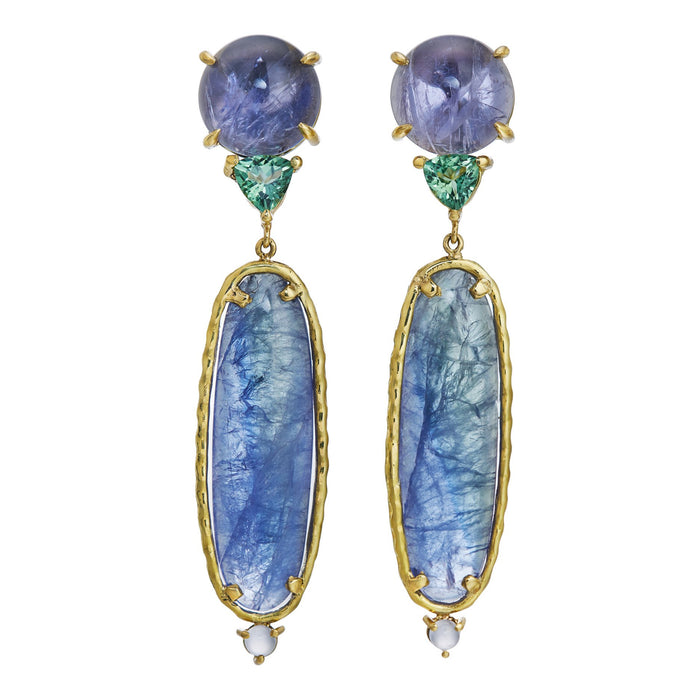 natural tanzanite, iolite, tourmaline, chalcedony  earrings in 18k yellow gold