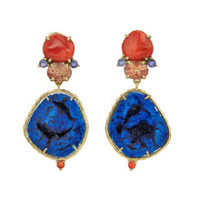 free-form red coral, faceted sunstone, blue iolite, azurite geode earrings in 18k yellow gold