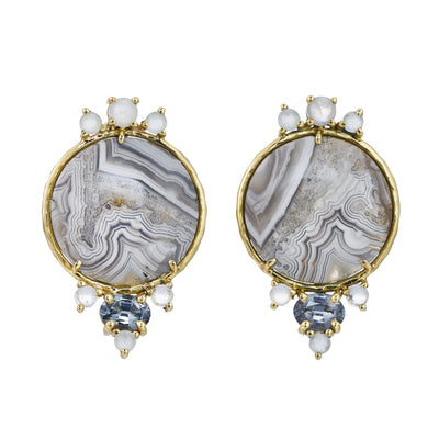 Crazy lace agate, moonstone, aquamarine, spinel, Earrings in 18k yellow gold.