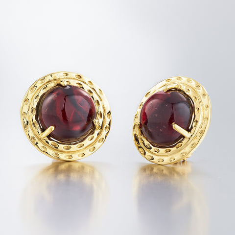 Double Orbit Large Stud Red Garnet Earrings