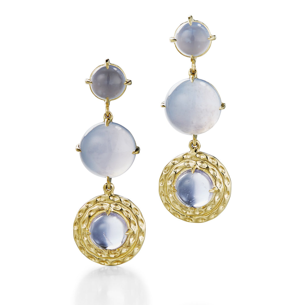 long drop earrings with chalcedony and iolite in 18k yellow gold