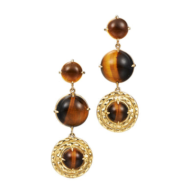 long tigers eye and 18k yellow gold earrings