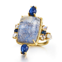 one of a kind ring with sapphires, diamonds, moonstone and dumortierite cabochon