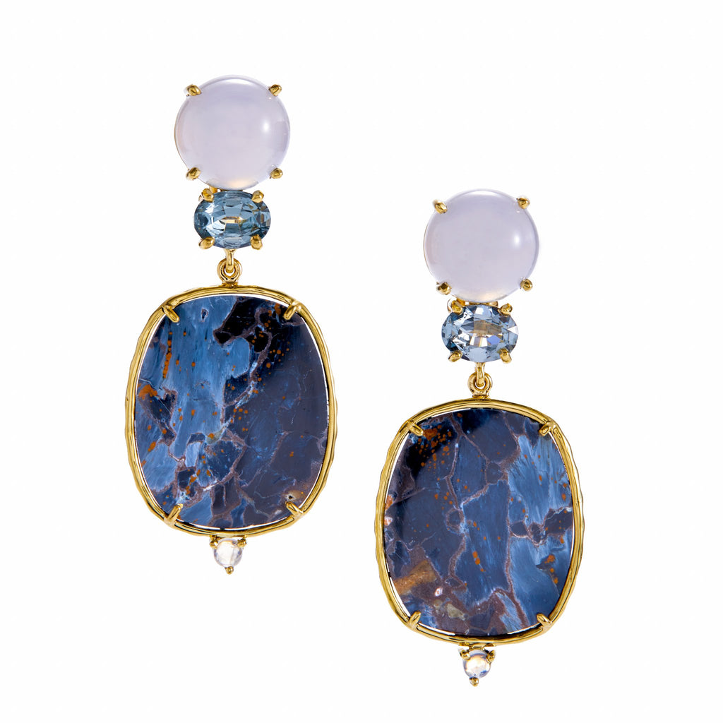 chalcedony, spinel, pietersite, rainbow moonstone earrings