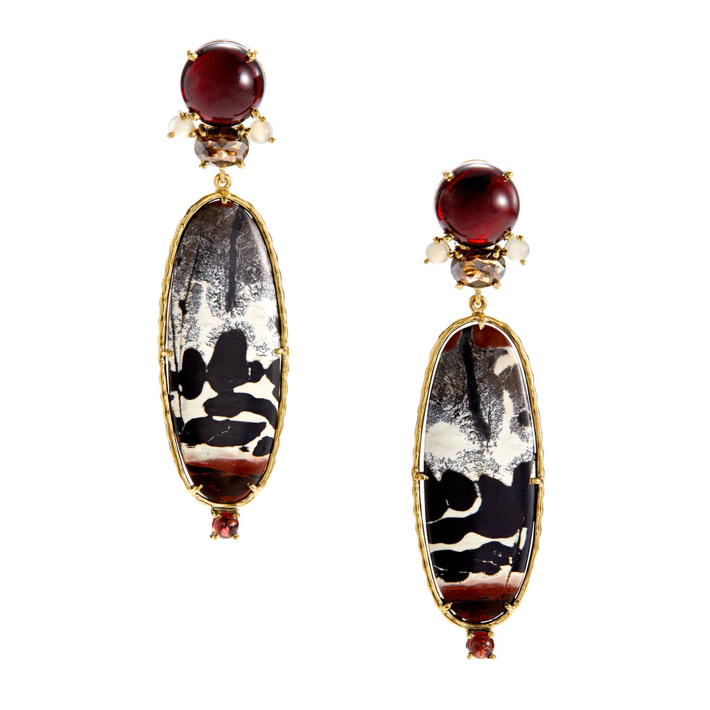 red garnet, white moonstone, rose-cut diamond, citrine, chinese character jasper earrings