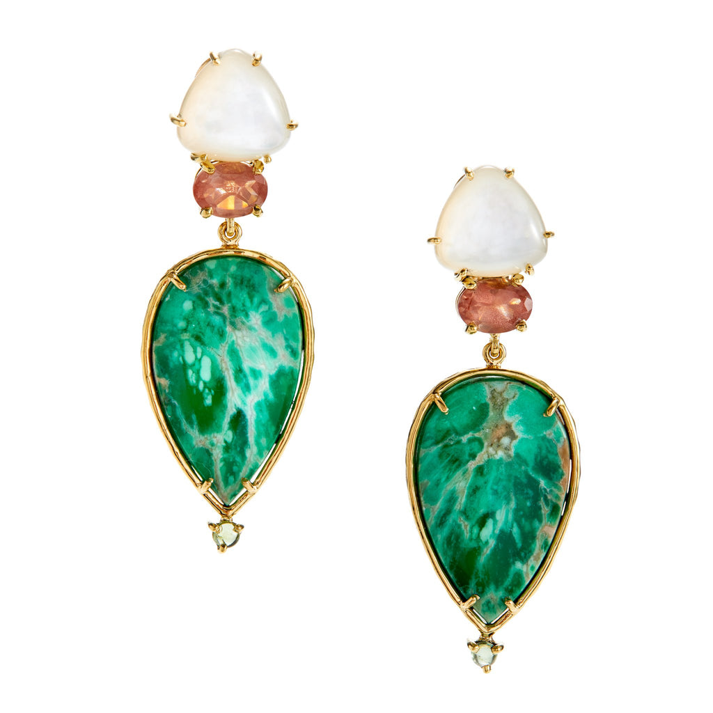 mother-of-pearl, sunstone, chrysoprase, green tourmaline earrings