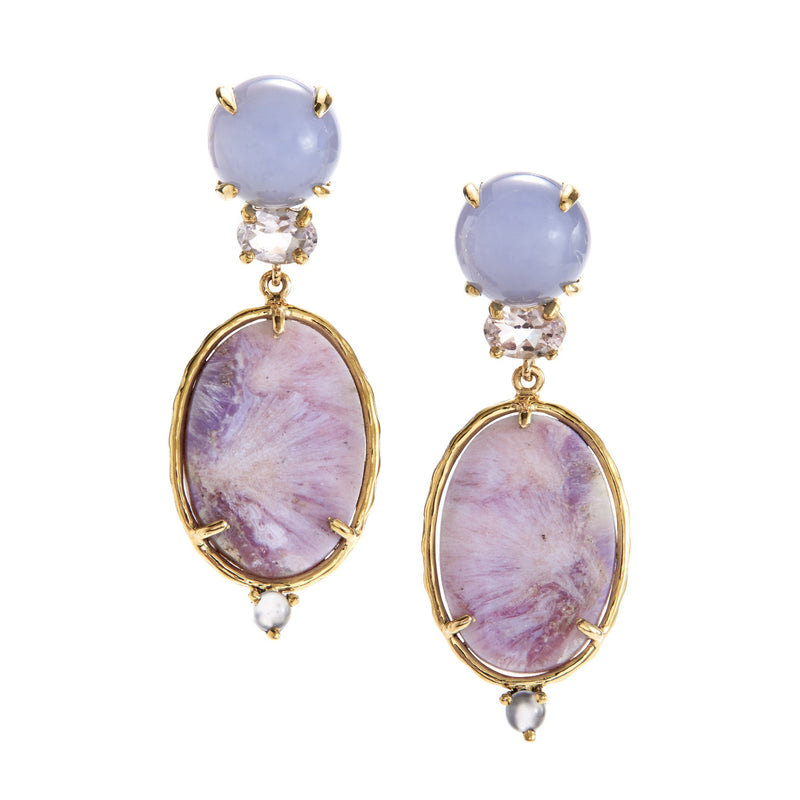 chalcedony, morganite, purple lace agate earrings