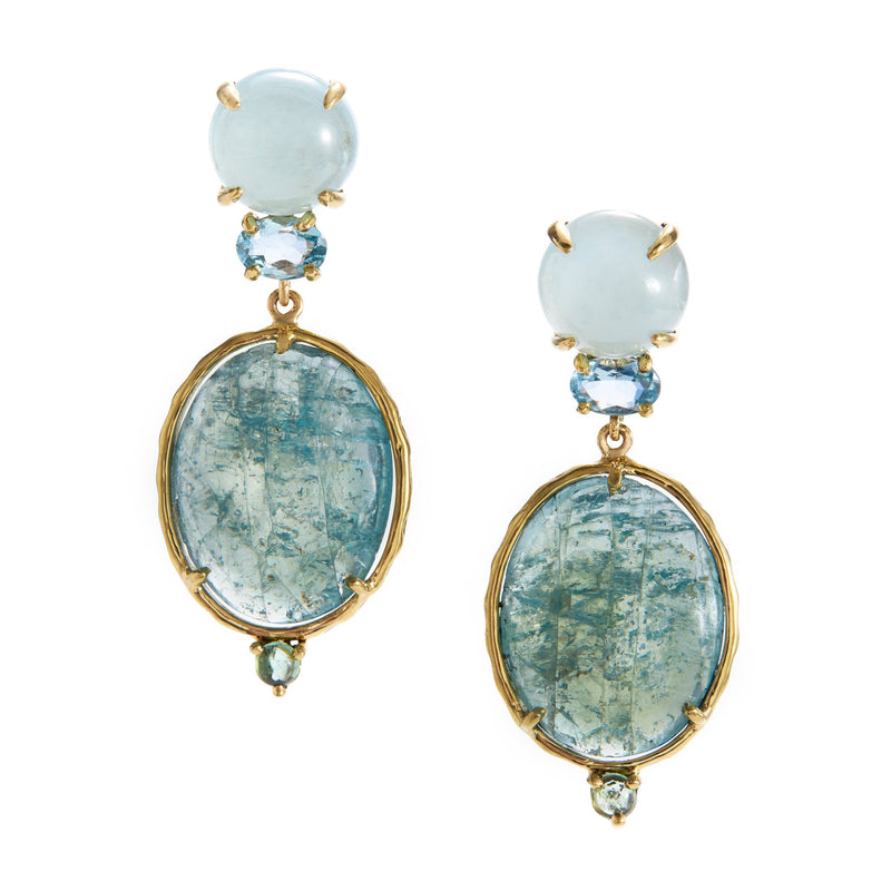 aquamarine, apatite earrings