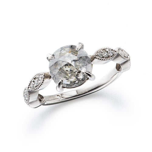 platinum engagement ring with rose cut diamonds