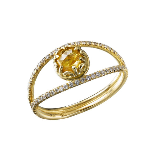 Czarina Split Shank Yellow Diamond Ring