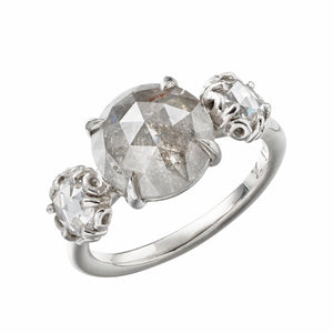 Czarina Three-Stone Ring, Grey Diamond