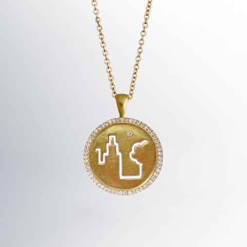 Fresh Air Fund 18k Gold Pendant with Diamond Surround