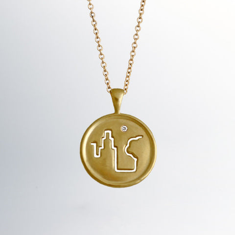 Fresh Air Fund 18k Gold Pendant with Single Diamond
