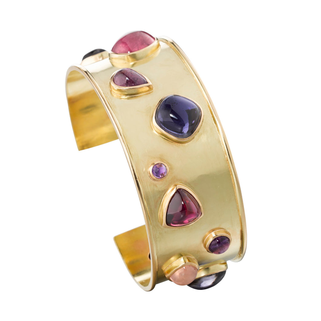 One of a kind handmade 18k yellow gold cuff with tourmaline, iolite, amethyst and rose quartz