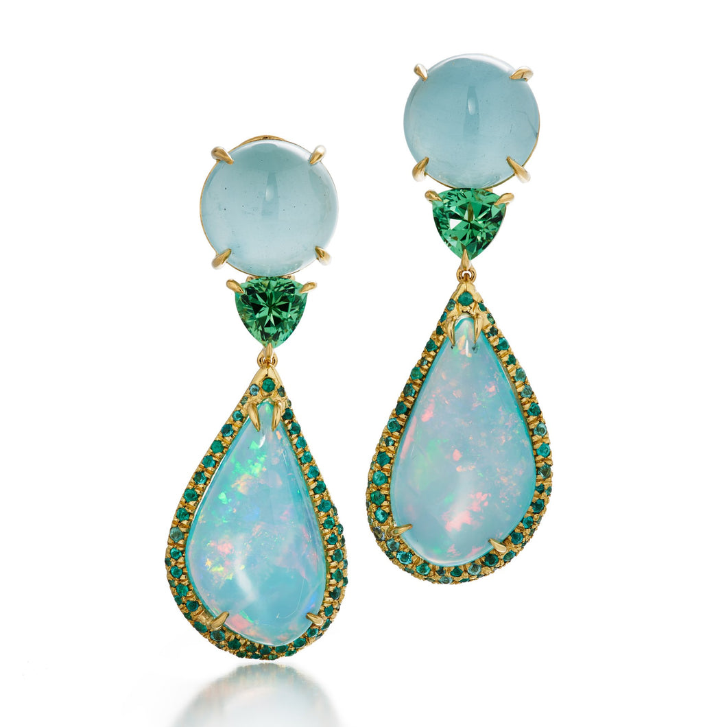 one of a kind earrings with Mexican blue opal, paraiba tourmaline, aquamarine, mozambique tourmaline