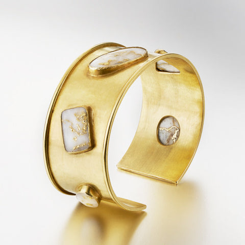 Cuff Bracelet with Gold-in-Quartz