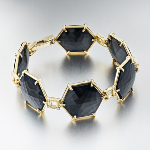 Hex Diamond & Black Garnet Bracelet