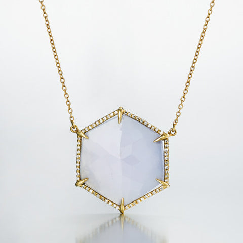 Hex Large Pendant with Diamonds