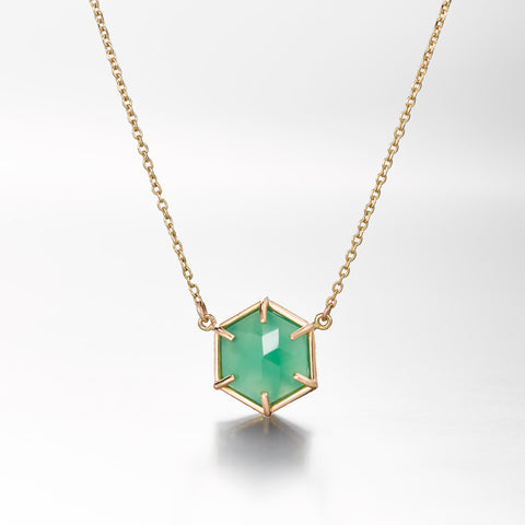 Hex Small Pendant Chrysoprase