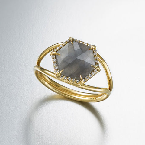 Hex Small Split Shank Ring with Diamond Surround