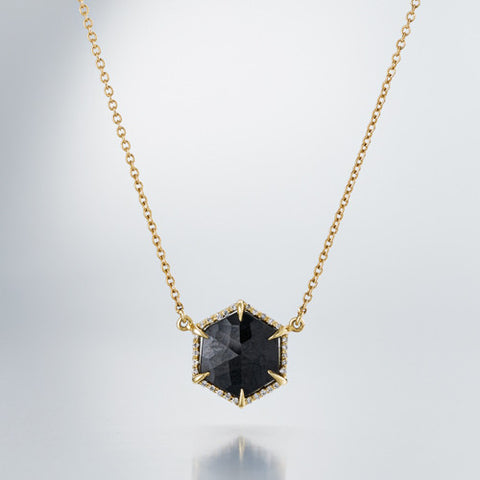 Hex Small Pendant with Diamond Surround