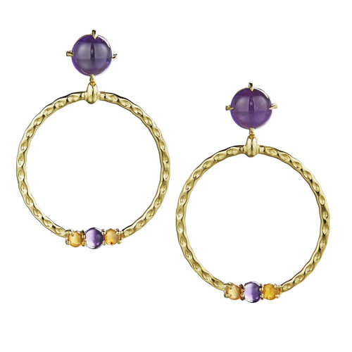 Large Orbit Gem-Studded Hoop Earrings