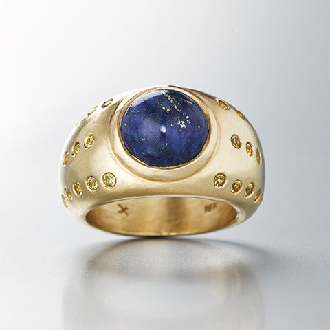 lapis Luna Ring with yellow sapphires brushed gold dome ring