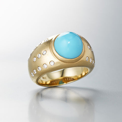 Large dome luna Ring with turquoise diamonds