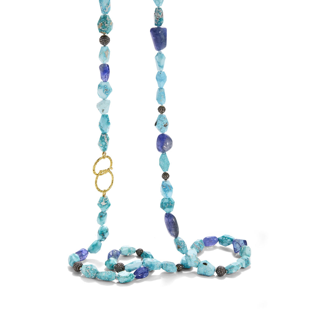necklace with natural pyrite studded turquoise, tanzanite beads, diamond-studded blackened silver ball-beads