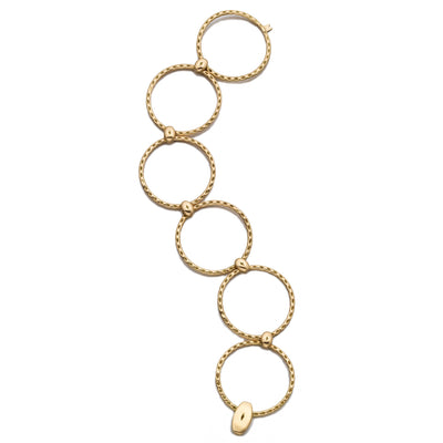 Every day 18k yellow gold circles hoops bangle bracelet
