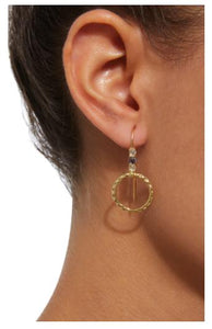 Small Orbit Drop Hoop Earring, Blue