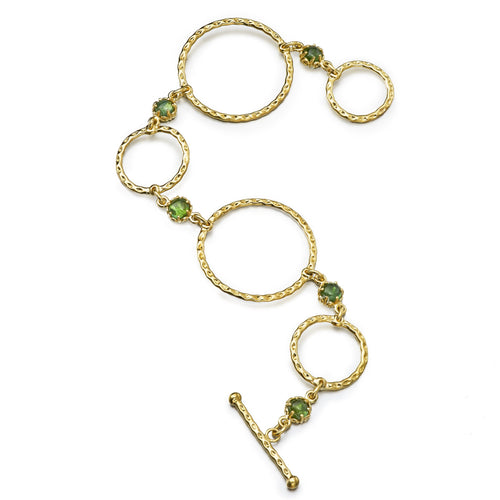 gold hoop and tourmaline cabochon bracelet
