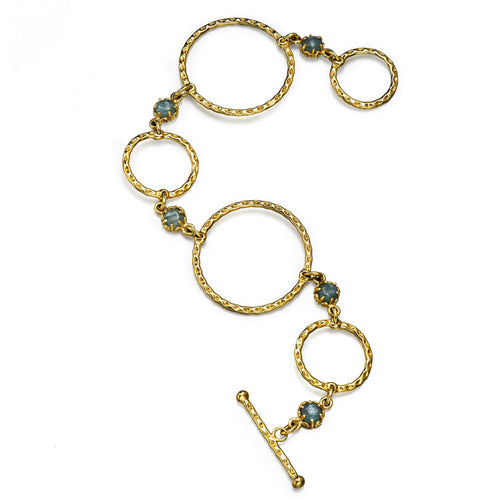 gold hoop and kyanite cabochon bracelet