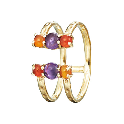 split open ring with textured gold, amethyst and carnelian