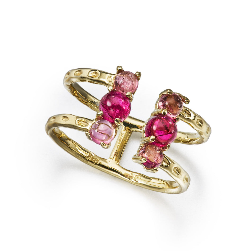 split open ring with textured gold, pink tourmaline