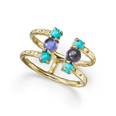 split open ring with textured gold, turquoise and iolite