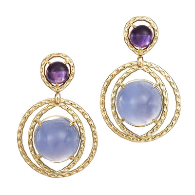 amethyst and chalcedony in a starburst of textured 18k yellow gold earrings