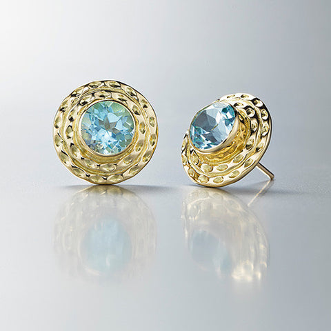 Double Orbit Studs with Faceted Blue Topaz