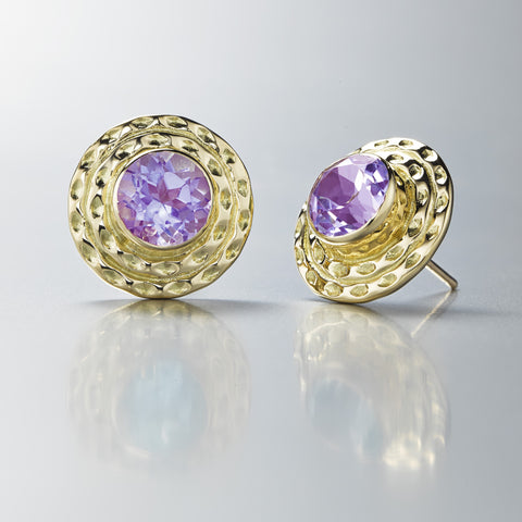 Double Orbit Studs with Faceted Amethyst