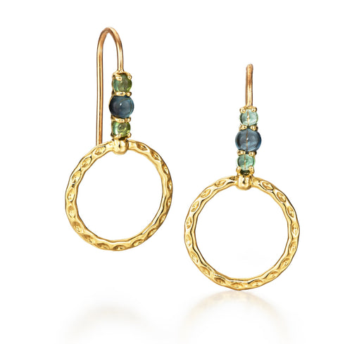 Orbit Drop Small Hoop Earring, Green