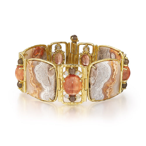 one of a kind crazy lace agate, moonstone and 18k yellow gold bracelet