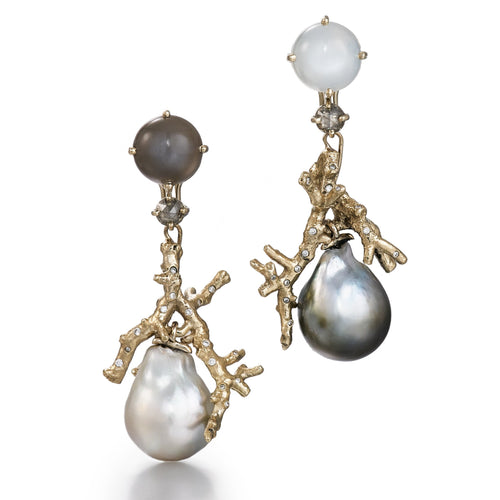One of a kind earrings with raw white gold, diamonds, grey and white moonstones, Tahitian and South sea pearls