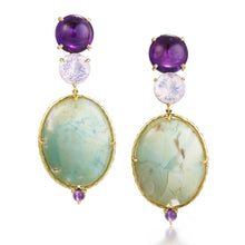 One of a kind amethyst and aquaprase earrings