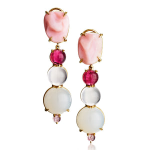 one of a kind earrings with free-form pink opal, pink tourmaline, rose quartz, chalcedony in 18k yellow gold