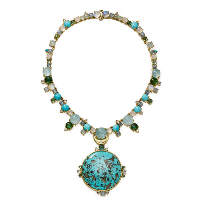 One of a kind necklace with removable pendant of pyrite-in-turquoise. features aquamarine, tourmaline, diamonds, moonstone, kyanite